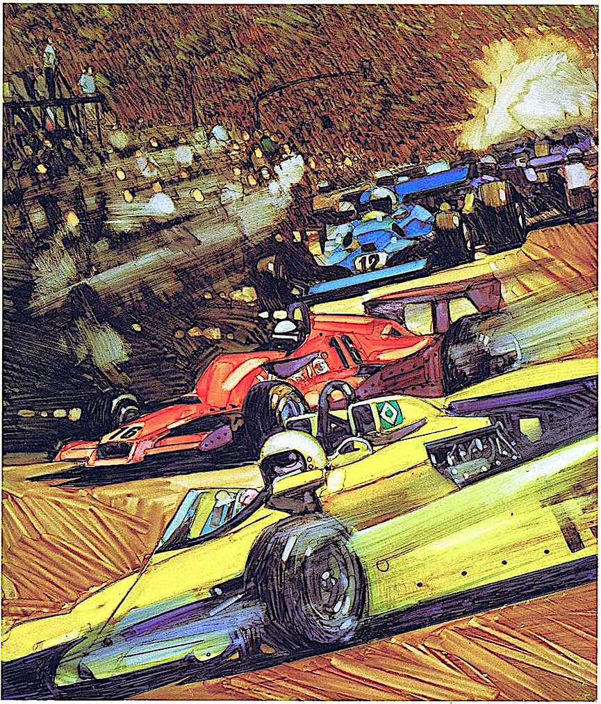 a Harry Borgman illustration of formula one racing