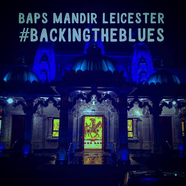 BAPS Shri Swaminarayan Mandir Leicester lights up blue backing the blues