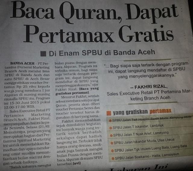 Waw, 6 SPBU Di Banda Aceh ini Gratiskan Pertamax Bagi Pembaca Quran 1 JUZ Selama Bulan Ramadhan