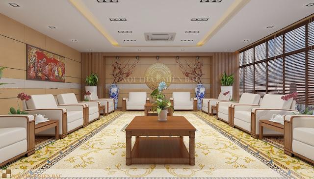 Thiết kế nội thất phòng khánh tiết với những chậu cây xanh ấn tượng cũng giúp cho căn phòng này trở nên thật ấn tượng và chuyên nghiệp