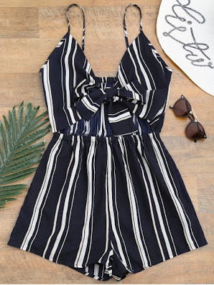 Tied Cami Striped Beach Romper - Deep Blue