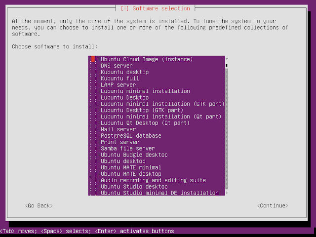 Ubuntu netboot installer choose software to install