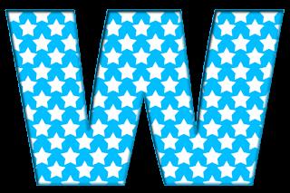 Abecedario Azul con Estrellas Blancas. Blue Alphabet with White Stars.