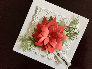 Hand Made Christmas Card with Die Cut Poinsettia, Foliage and Frame