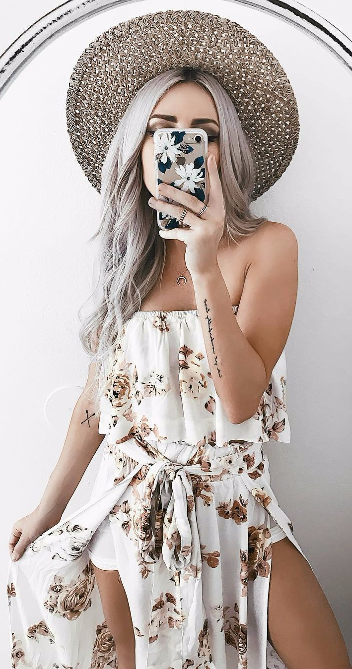 printed romper / off-the-shoulder addiction