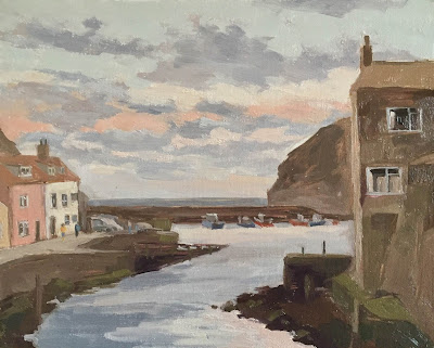 #136 Sunrise The Beck, Staithes 9.5×12″