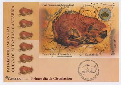 Sobre PDC con la hoja bloque de la moneda de dos euros dedicada la Cueva de Altamira en Cantabria