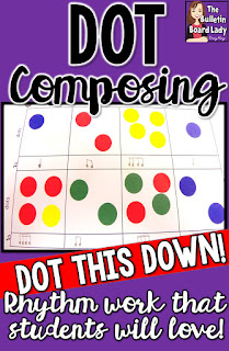 Dot composing is an easy way to get your music students to become composing utilizing rhythm work.  Stickers or dabbers are great for this activity that can be used many times in your classroom.