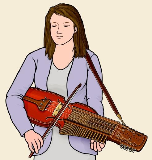 スウェーデンのニッケルハルパ nyckelharpa ( keyed fiddle , key harp )