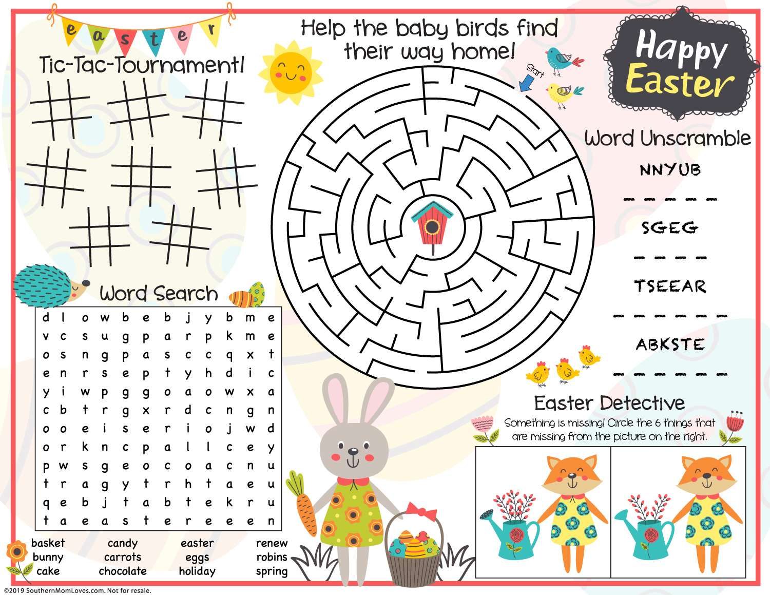 Southern Mom Loves Printable Easter Game Placemats For