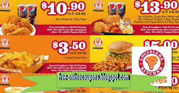 Details: Click through to find coupons for a Popeye's location near you. These are local coupons that are applicable to that store only. You can also find Popeyes locations along a route you will be traveling.