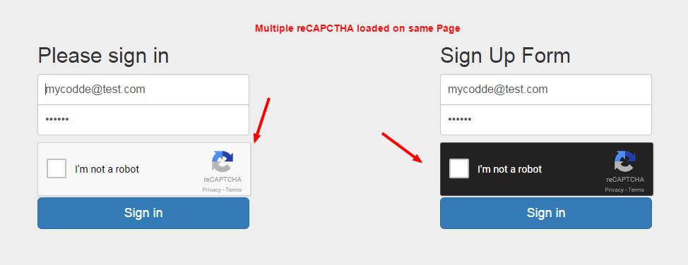 Multiple reCAPTCHA Implementation on Same Page [Sample] My Codde