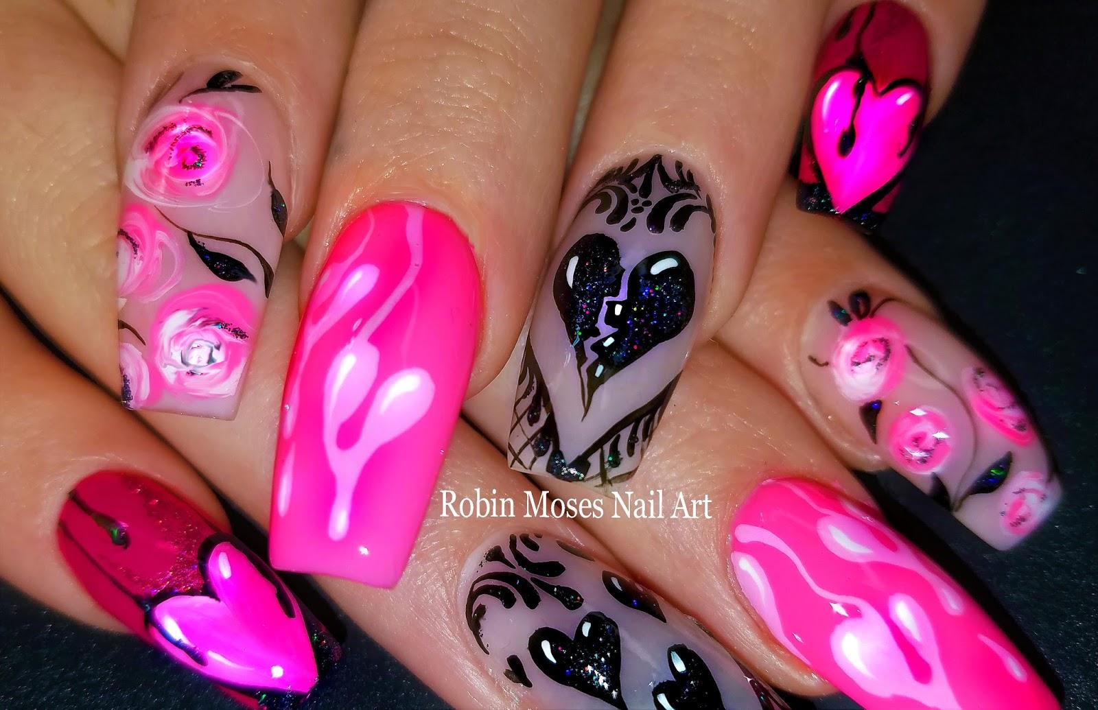 Robin Moses Nail Art New Valentines Day 2018 Nails Makeup Pink Black Blog Http Robinmosesnailartblogspotcom Nailart Valentinesdaynails Nails2018 Valentinesday2018 Valentinesdaynails2018