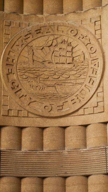 Art Deco crest of the city of Buffalo on the facade of Buffalo City Hall