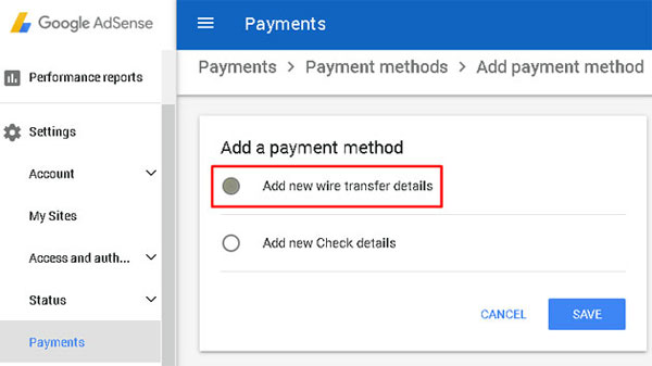 Adsense Payment to Bank