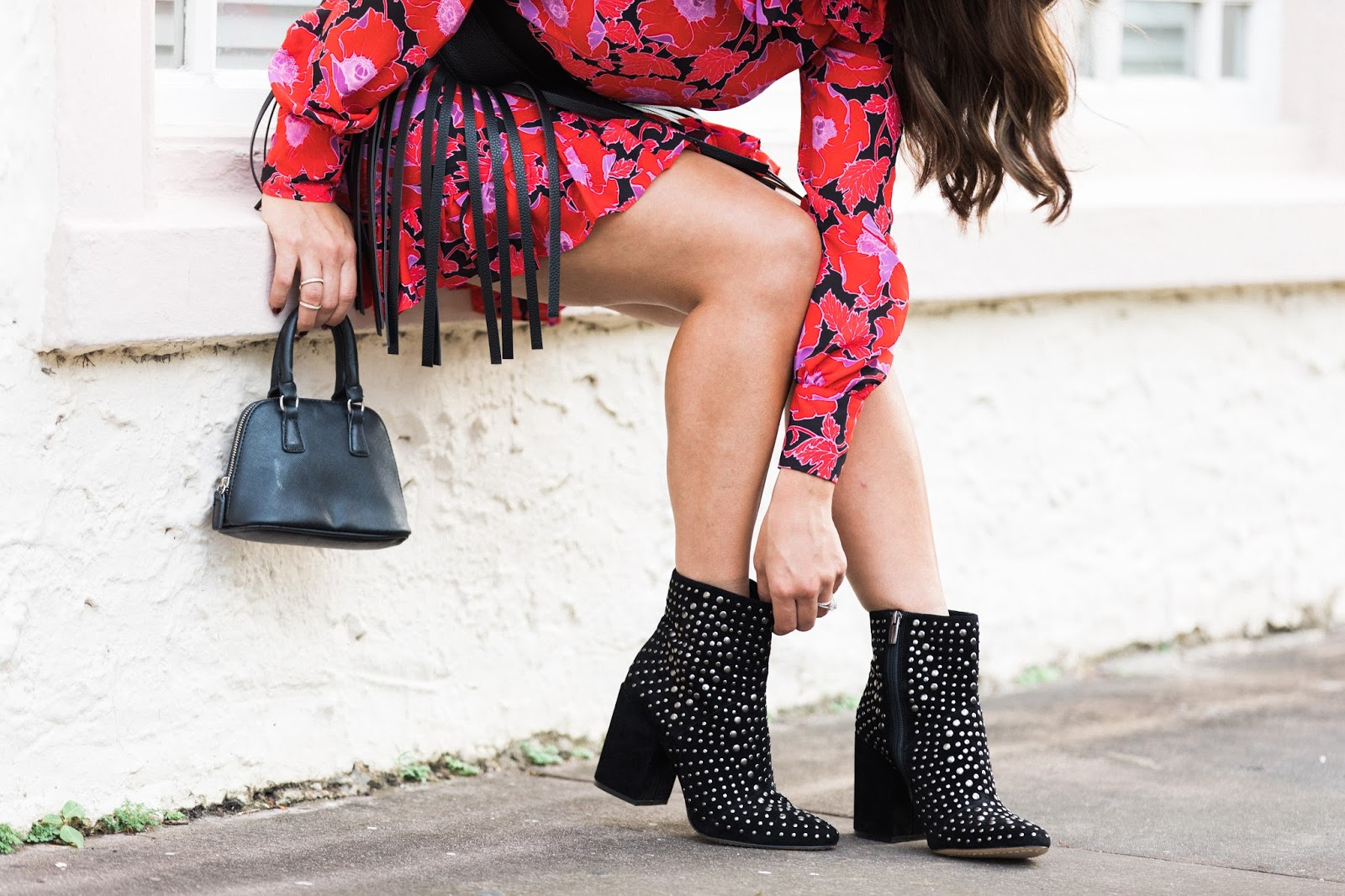 Fall fashion statement: Bold print dress and studded block-heel boots