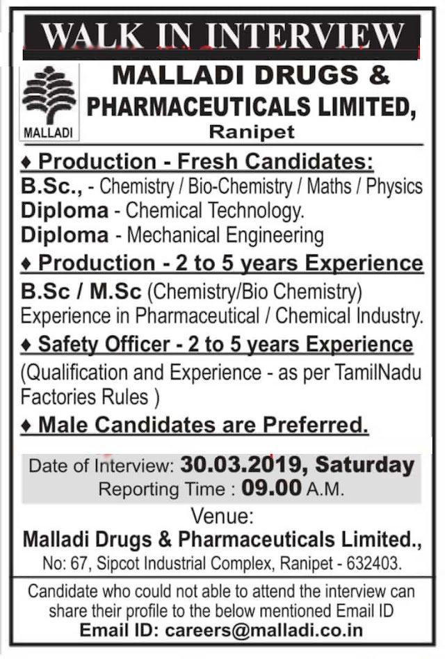 Malladi Drugs  - Walk-In Interviews for Fresh - Experienced Candidates on 30th Mar' 2019