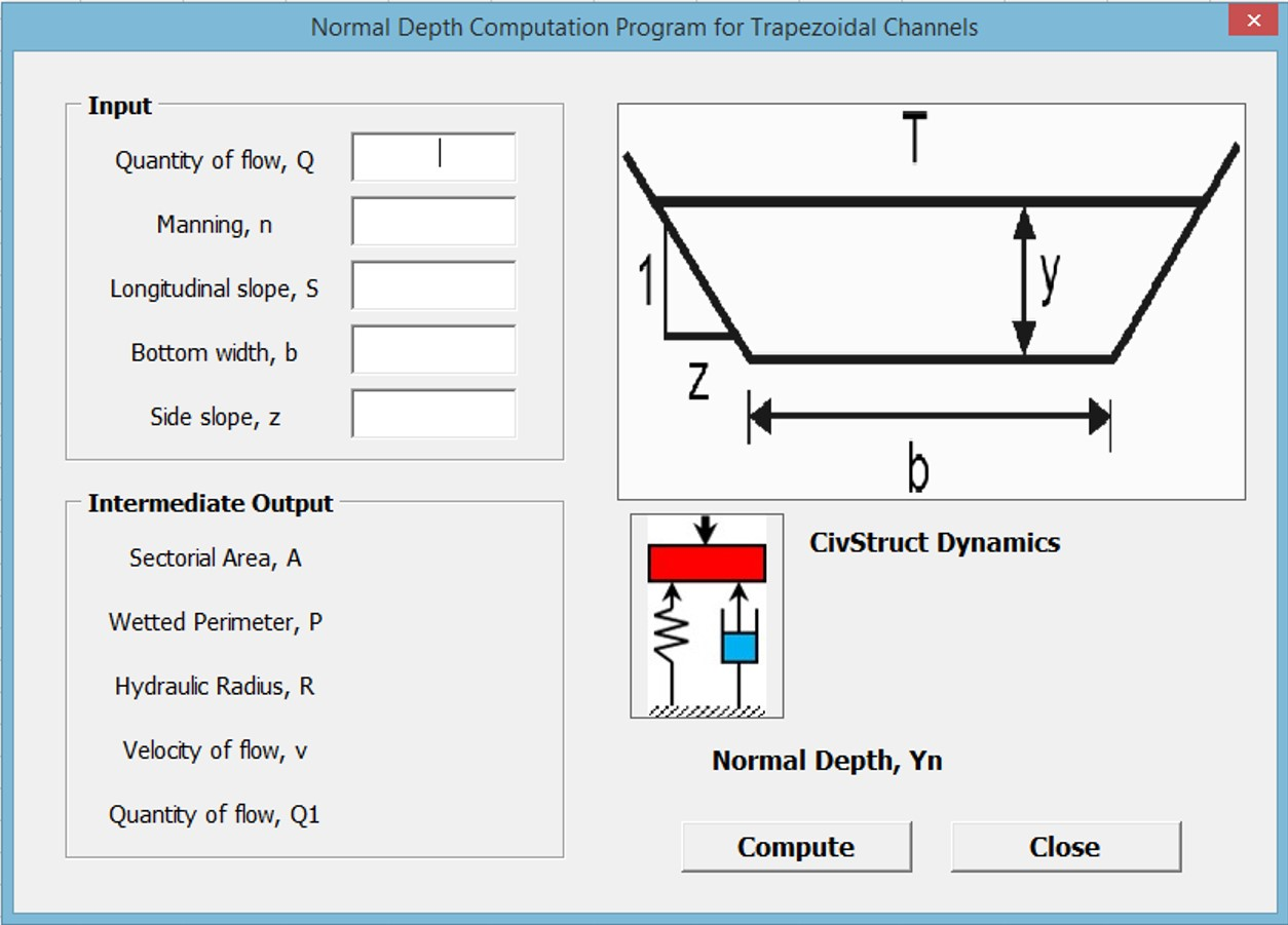 Civilstructural Guru Bending Moment Diagram Software Program For The Computation Of Normal Depth In Trapezoidal Channels
