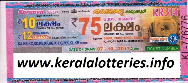 Kerala Lottery Result KARUNYA (KR-314) on 07-10-2017