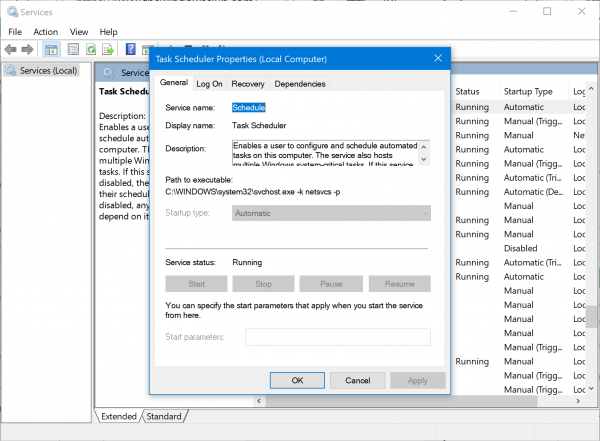 Task Scheduler Error 0x80070057