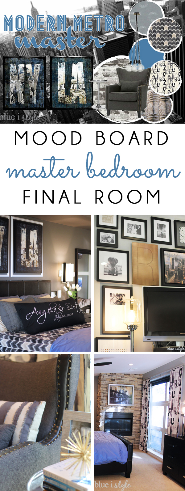 Modern Metro Master Bedroom mood board and photos