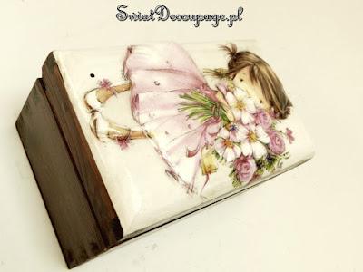 dziewczynka – skrzynka z decoupage 3d