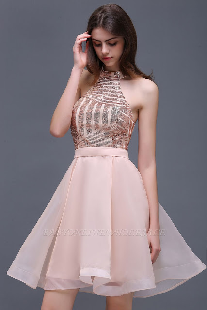 A Line Halter Organza Short Homecoming Dresses With Sequins