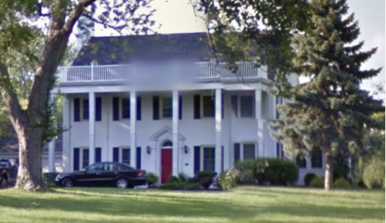 image of stately white colonial house with pillars, the Sears Jefferson model