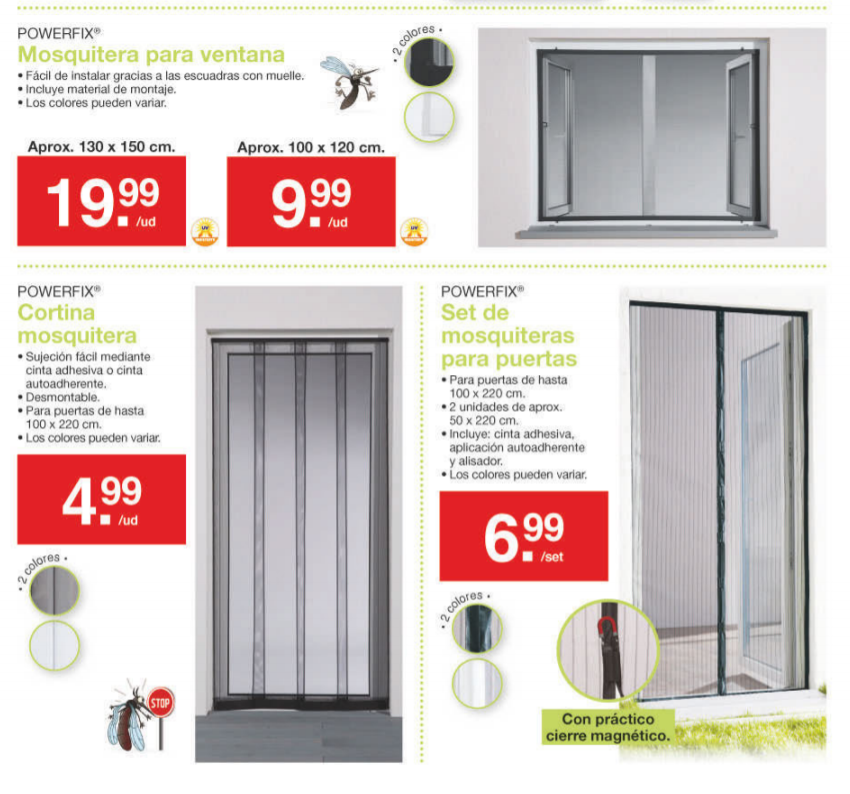 Lidl catalogo folleto mosquiteras lidl julio 2019 for Mosquitera puerta imanes