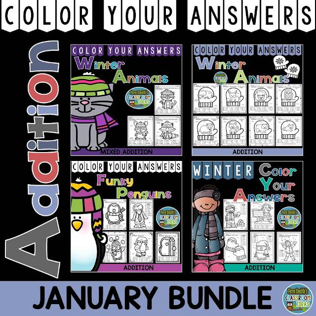 Fern Smith's Classroom Ideas Winter Math: Winter Fun! Winter Math January Bundle for Addition Facts at TeachersPayTeachers. #TpT