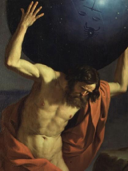 guercino atlante che sostiene il globo celeste