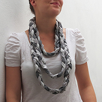 http://www.ohohdeco.com/2012/11/braided-scarf-with-old-t-shirts.html