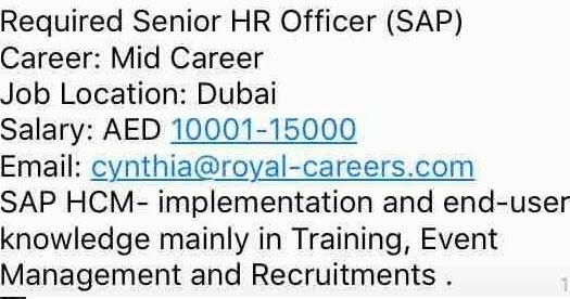 Senior HR Officer Jobs in Dubai-UAE | Gulf Job Hunt (UAE, Saudi ...
