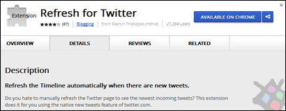 Chrome auto tweet refresh addon