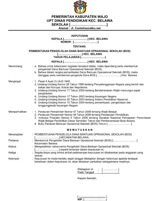 Download Contoh SK Bendahara Pengelola Dana Bantuan Operasional Sekolah BOS Format Word  Doc