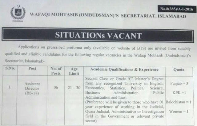 Wafaqi Mohtasib Secretariat Jobs in Islamabad 2016