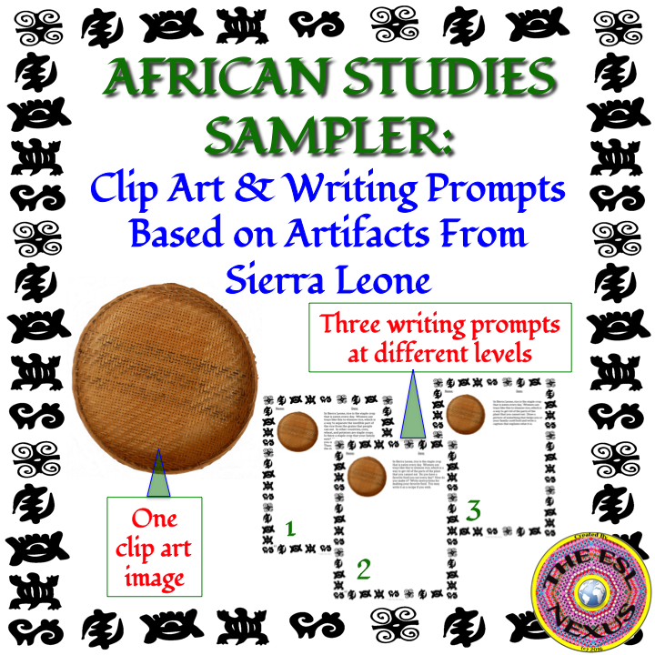 Clipart and writing prompts from Sierra Leone freebie by The ESL Nexus