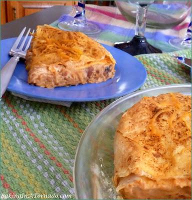 Chicken Enchilada Pot Pie, all the flavors of chicken enchiladas  in a tortilla crusted pot pie. | Recipe developed by www.BakingInATornado.com | #dinner #chicken