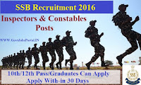 SSB RECRUITMENT 2016 FOR INSPECTOR & CONSTABLES POSTS
