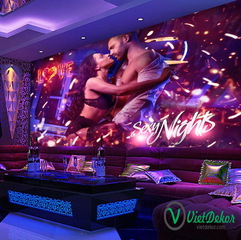 Tranh dán tường 3d trang trí phòng karaoke
