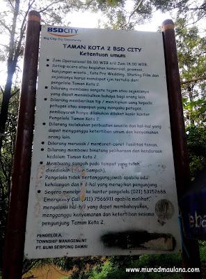 Papan Pengumuman Taman Kota 2 BSD City
