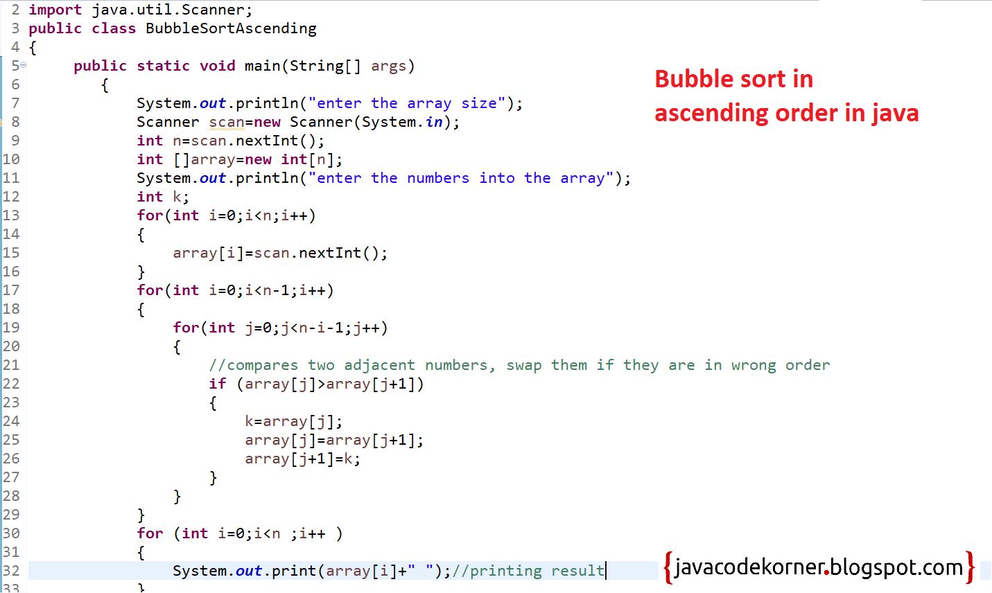 Java Program For Bubble Sort In Ascending Order