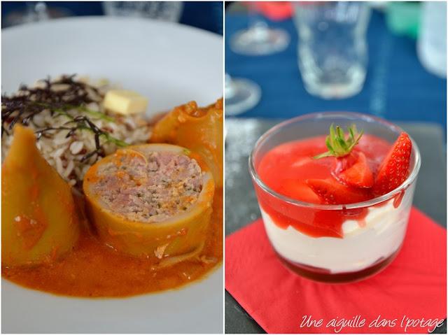 encornet farci/ tiramisu fraise