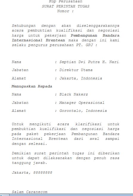 Contoh Surat Perintah Tugas Mengikuti Krarifikasi Caranecom