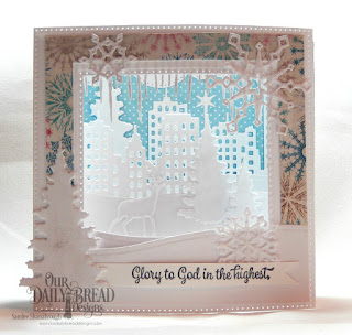 Stamp Set: Christmas Card Scriptures, Paper Collection: Snowflake Season, Custom Dies: Cloud Borders, Icicle Border, City Skyline, Bethlehem, Snow Crystals, Trees and Deer, Holy Night, Diorama with Layers