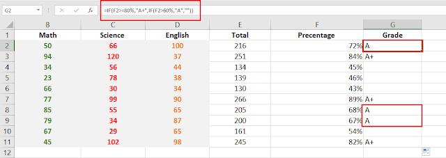 Excel Grade Formulas