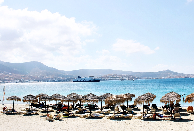Paradiso beach club sunbeds and umbrellas, Martselo beach Paros