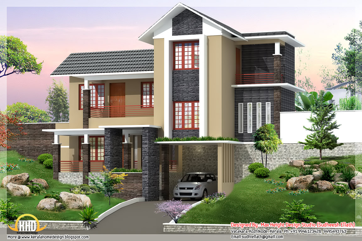 New trendy 4bhk kerala home design 2680 kerala for Home design images gallery