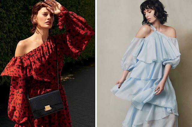 Красное платье с цветочным принтом и голубое нежное платье с крупными воланами