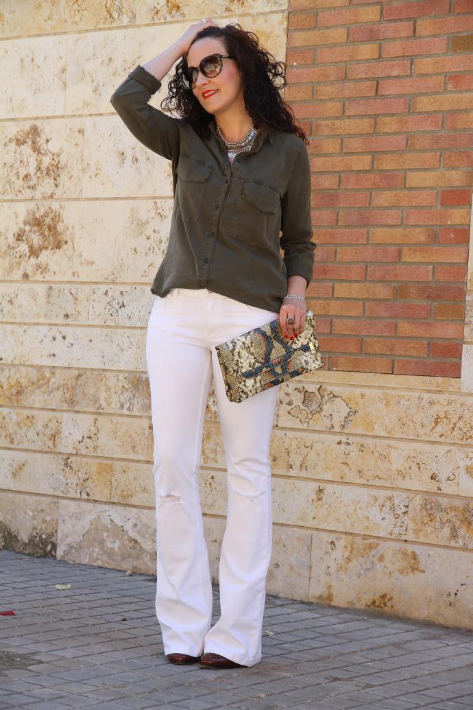 Military Khaki Shirt White Flare Jeans Black Dress Inspiration